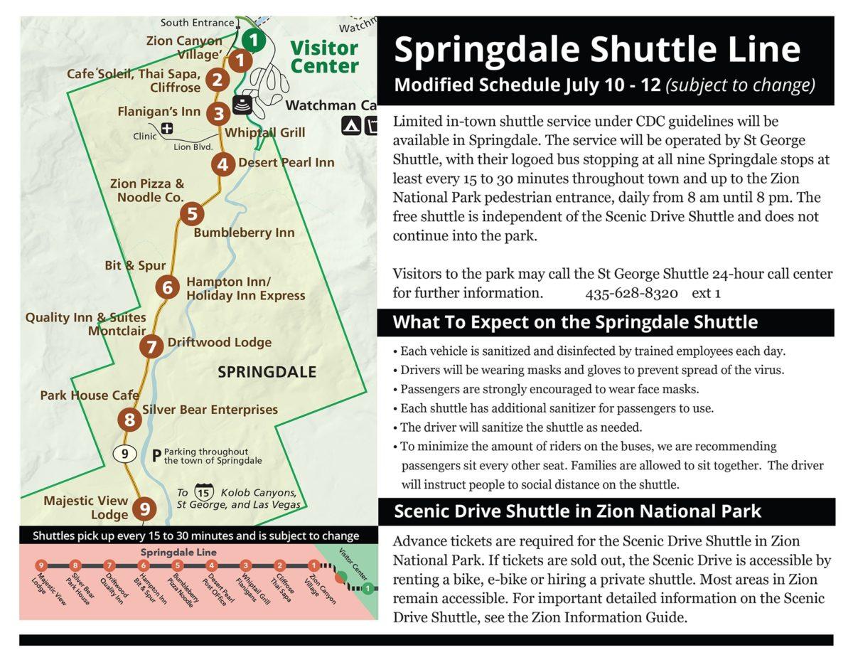 Springdale Shuttles Info July 10 2020 1